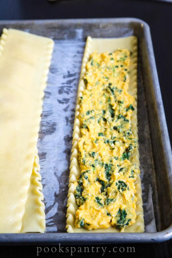 lasagna noodles with hubbard squash filling
