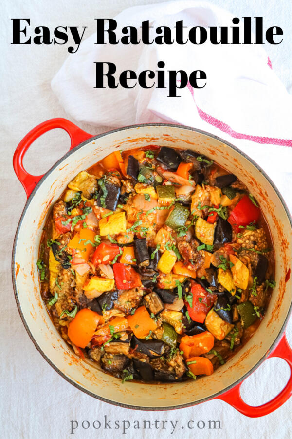 Easy ratatouille recipe in red pot image for Pinterest.