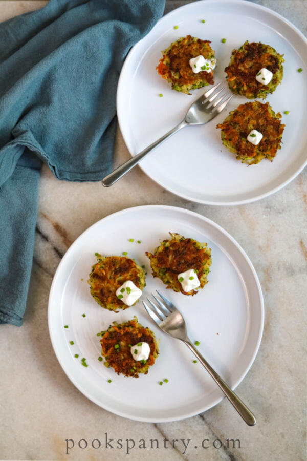 potato and broccoli cakes with blue napkin