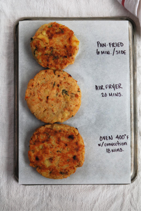 potato veggie burgers on sheet pan