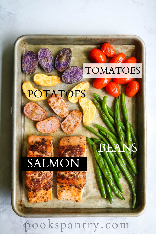 ingredients for baked salmon nicoise on sheet pan