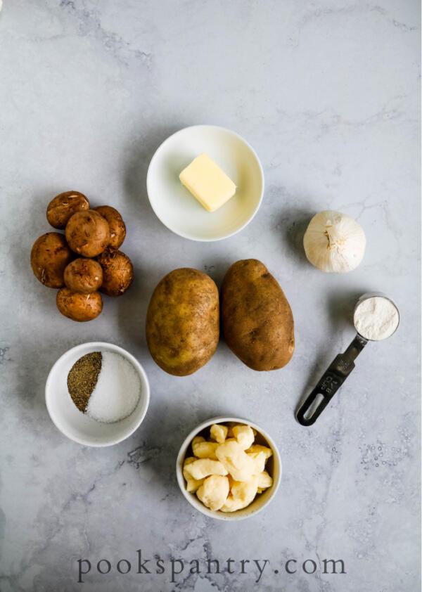 ingredients for vegetarian poutine recipe