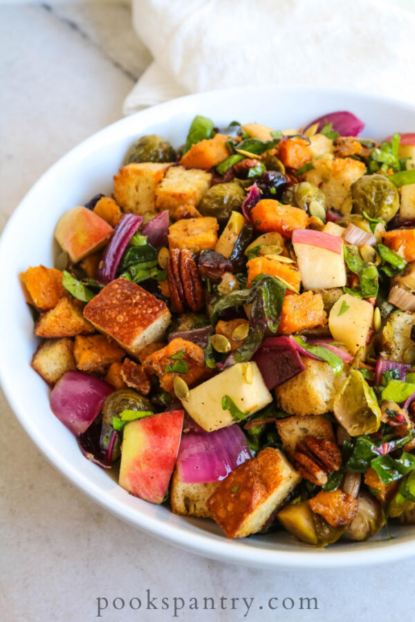 fall panzanella salad in white bowl