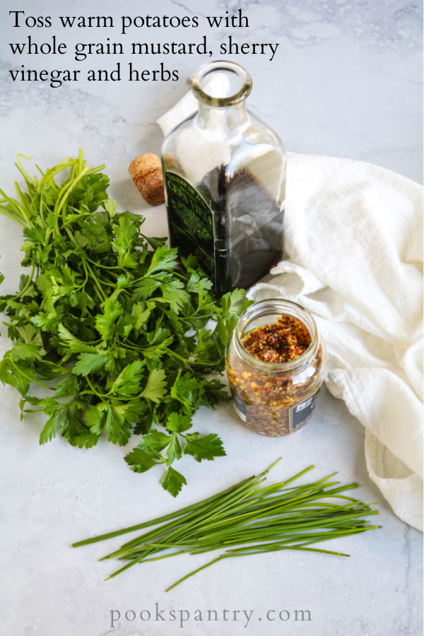 sherry vinegar, whole grain mustard and herbs