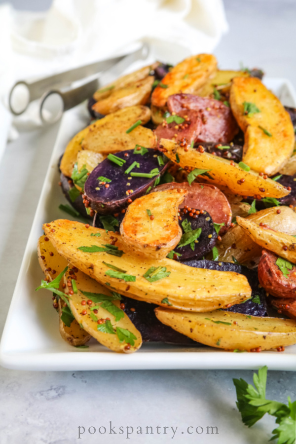 roasted fingerling potato recipe with whole grain mustard and herbs