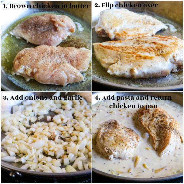 collage of step by step instructions for creamy Dijon chicken pasta meal