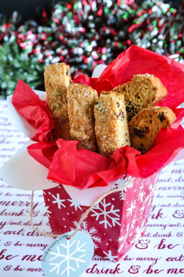 raisin biscotti in red and white gift box