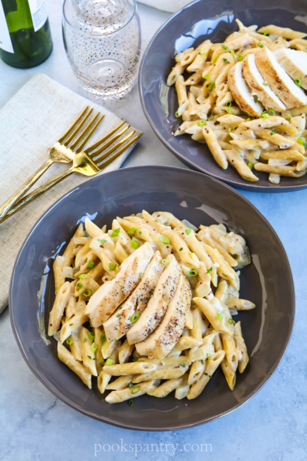bowls of chicken Dijon pasta
