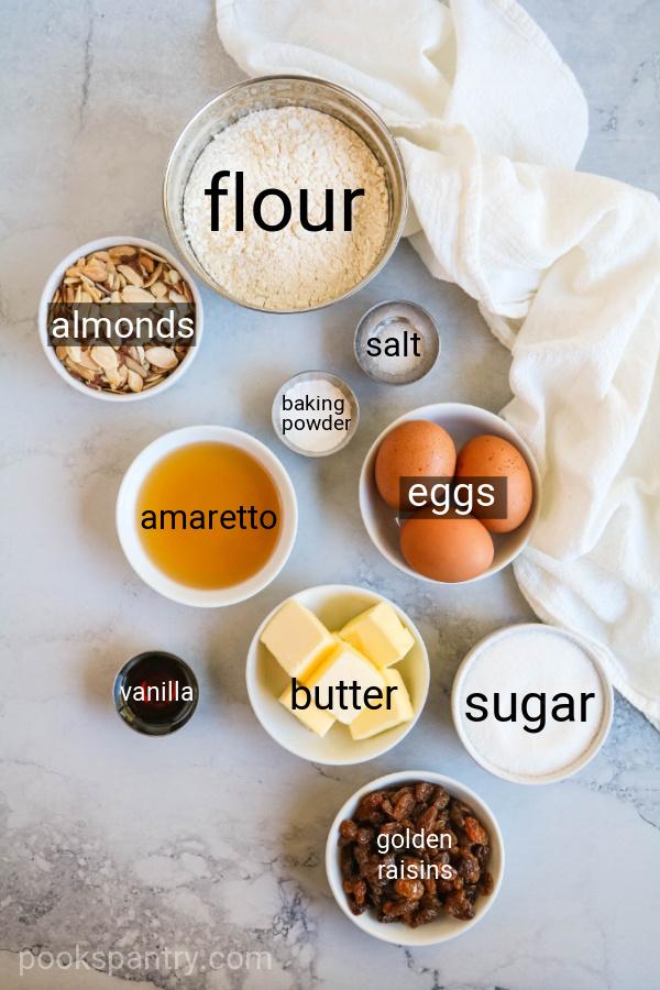 ingredients for raisin biscotti