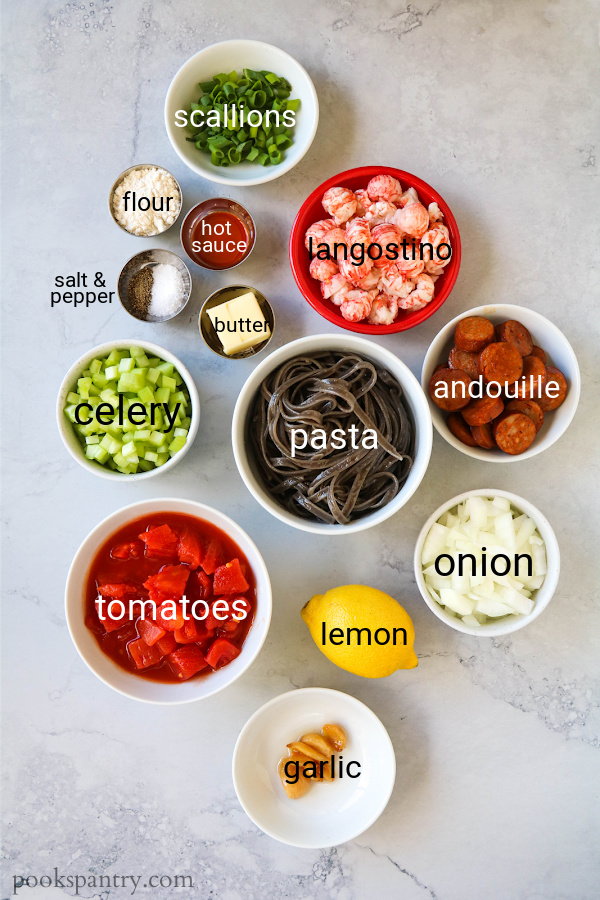 ingredients for Cajun langostino pasta