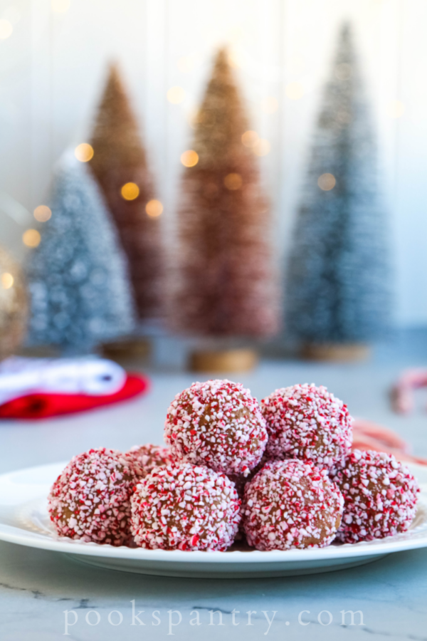 peppermint rum balls on white plate with trees in background