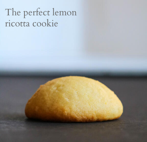 lemon ricotta cookie on black and white background
