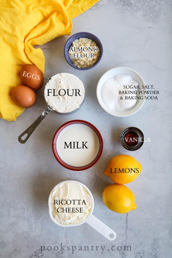 Ingredients for lemon ricotta pancakes