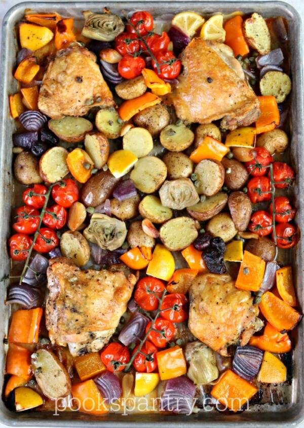 Mediterranean baked chicken with roasted vegetables tray bake