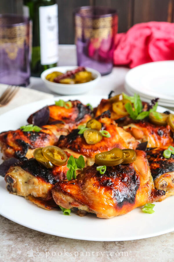 bourbon chicken thighs with jalapenos and herbs