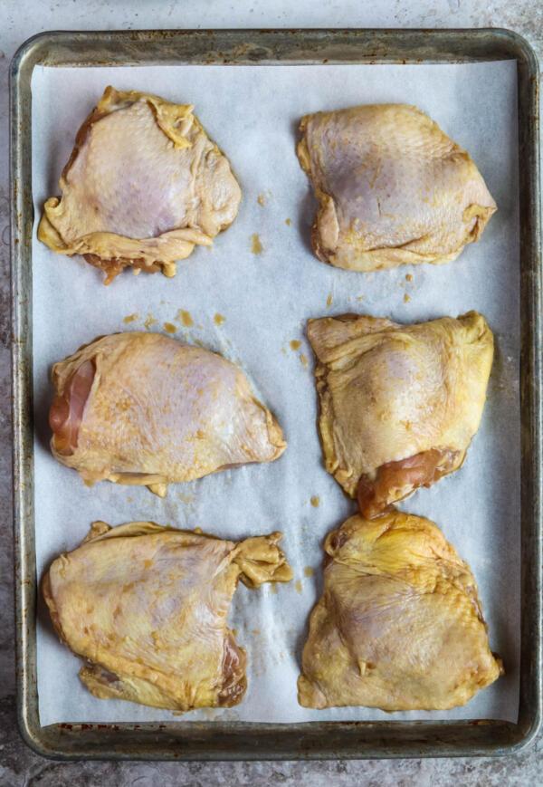 chicken thighs on sheet pan