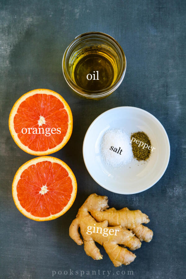 ingredients for orange ginger dressing