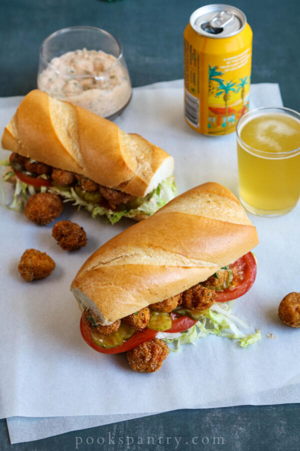 fried langostino po'boys on butcher paper