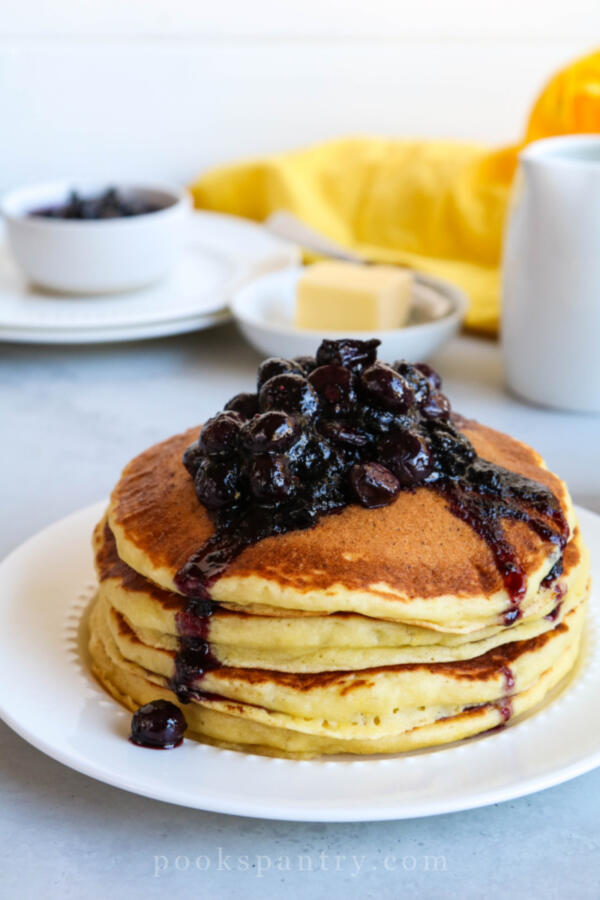 ricotta pancakes with lemon and blueberries