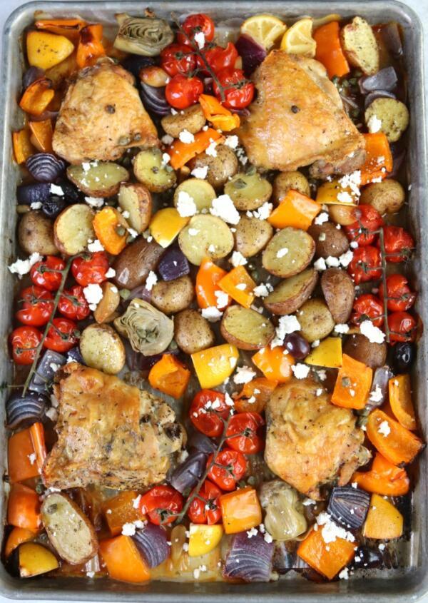 mediterranean baked chicken dinner with feta cheese