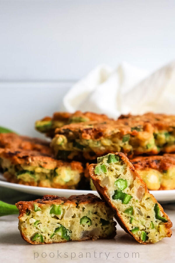 fried okra cakes on marble counter