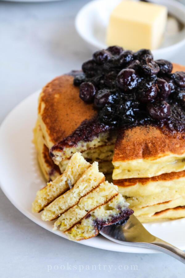 lemon ricotta pancakes on fork