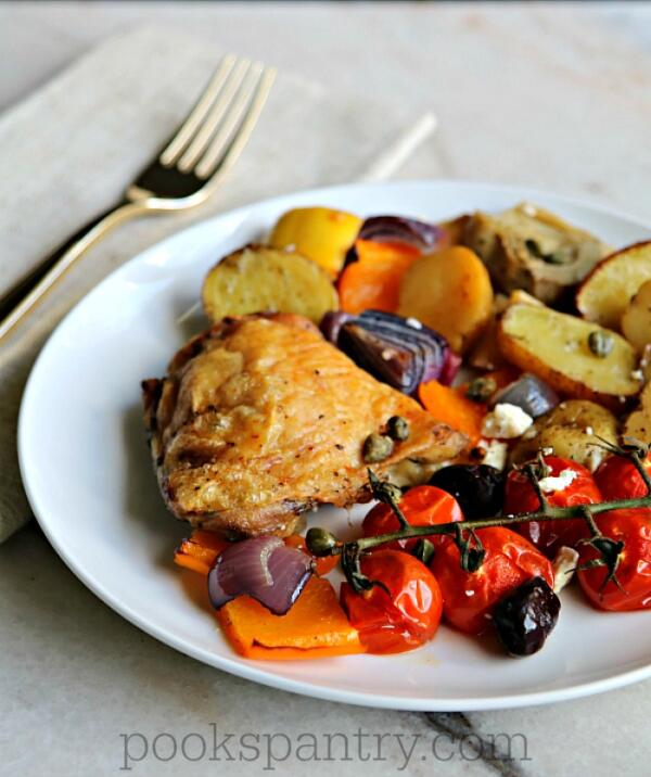 plate of baked chicken and vegetables