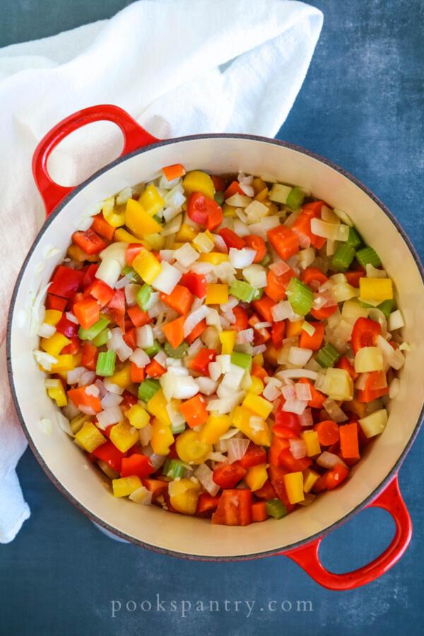 sautéing vegetables for chili