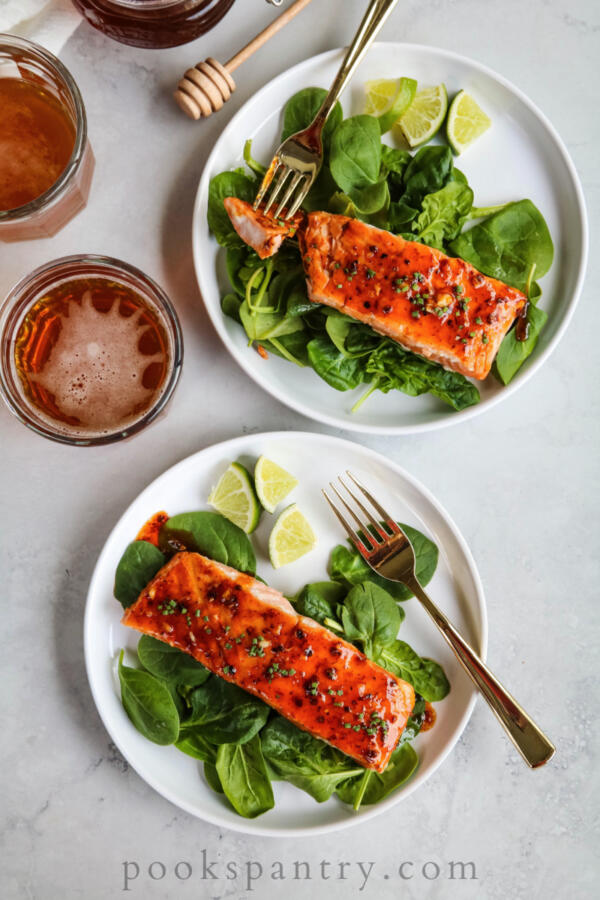 Honey chipotle salmon with spinach