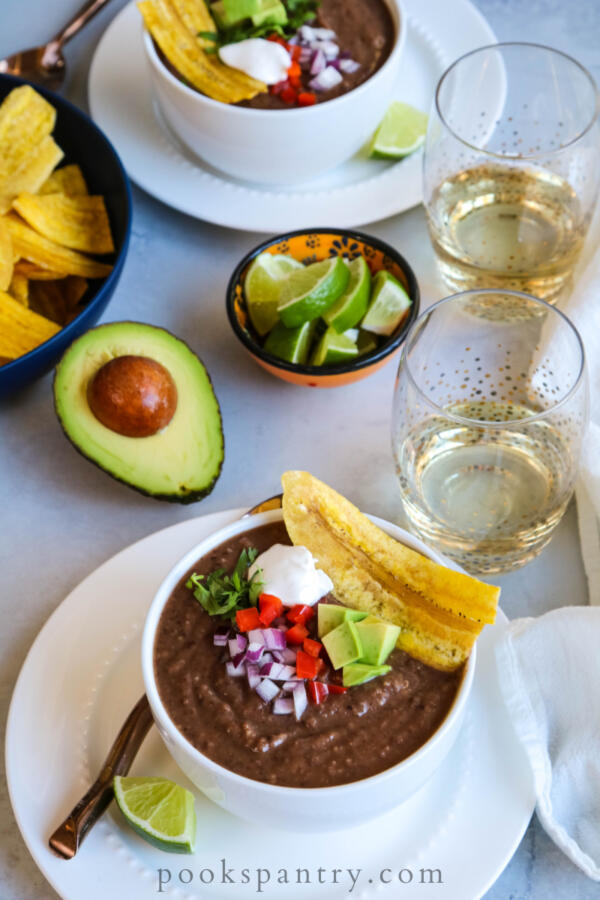 Black bean soup with peppers and avocado