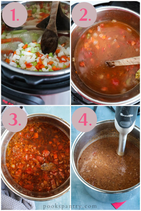 step by step instructions for Instant Pot black bean soup