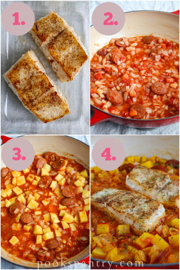 step by step instructions for pan seared corvina with linguiça and potatoes