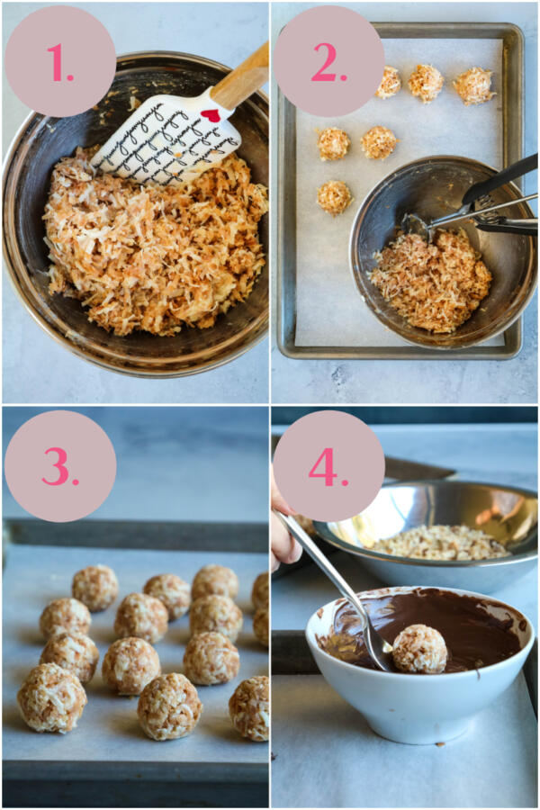 step by step instructions for making coconut truffles