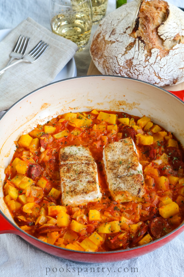 seared corvina one pan meal inn red braiser