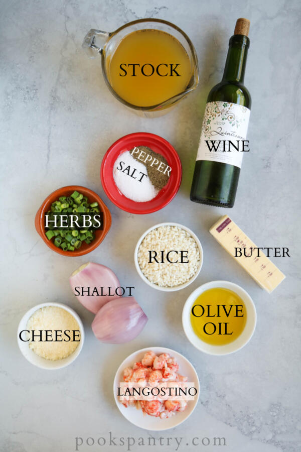 ingredients for langostino risotto