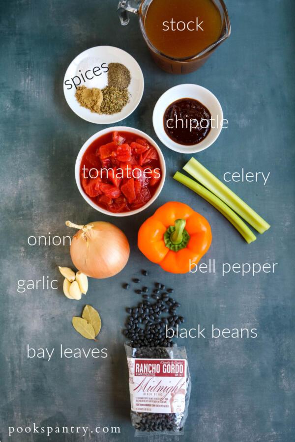 ingredients for vegan Instant Pot Cuban black bean chili