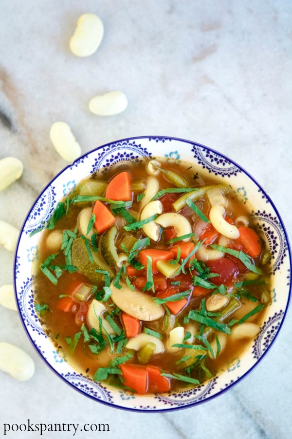 bowl of minestrone with white beans