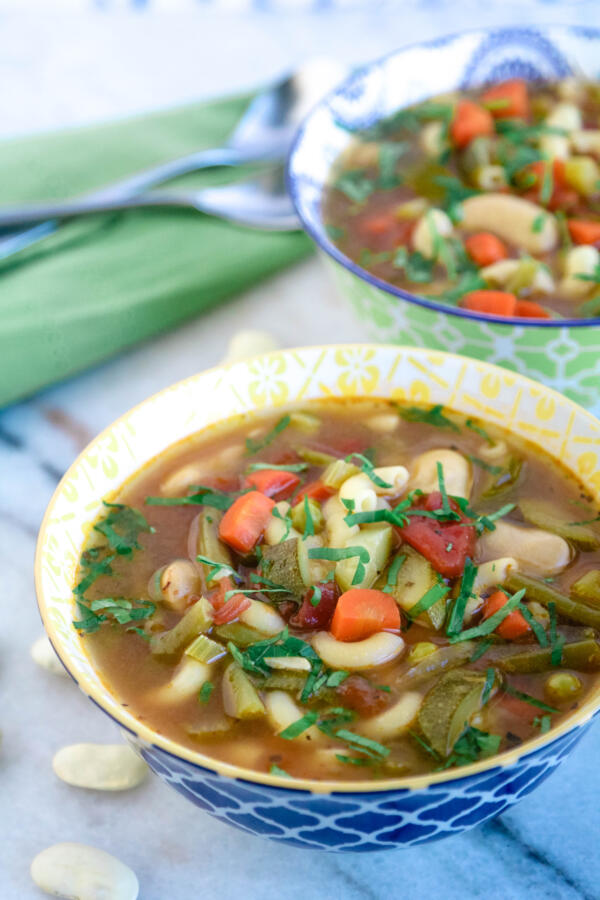 minestrone soup with beans and fresh herbs