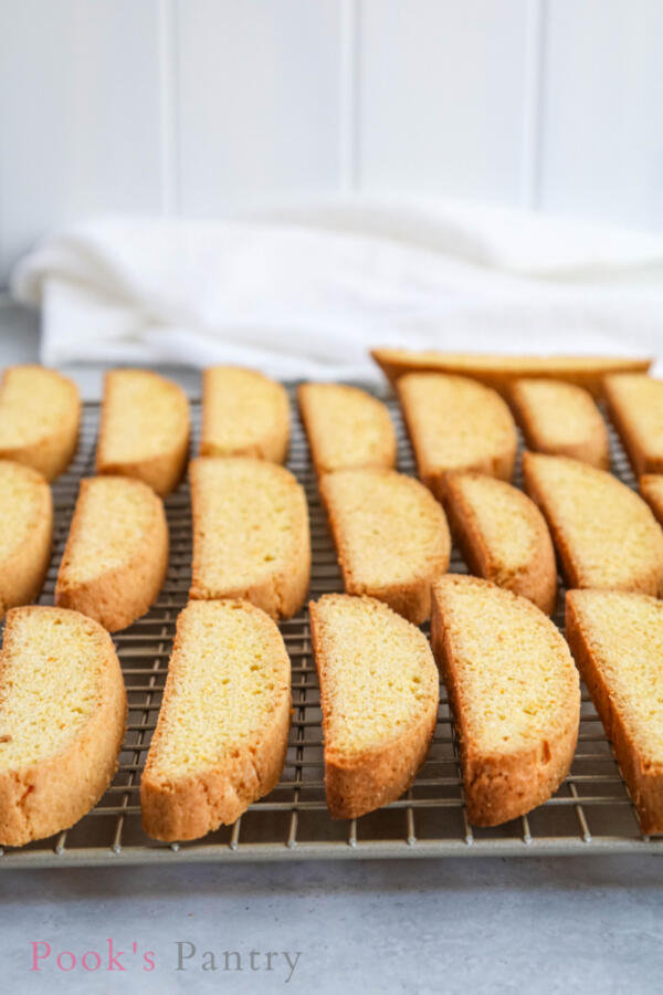 cooling biscotti on rack