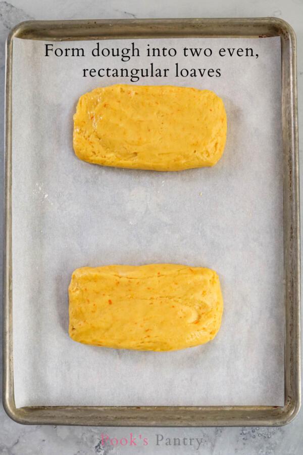 citrus biscotti dough ready for the oven