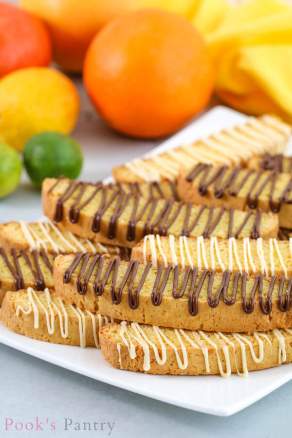 biscotti n plate with chocolate drizzle