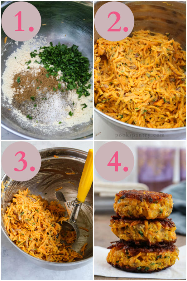 collage of instructions for butternut fritters
