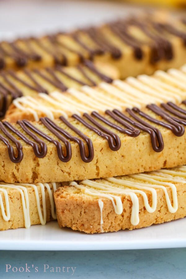 chocolate drizzled biscotti on plate