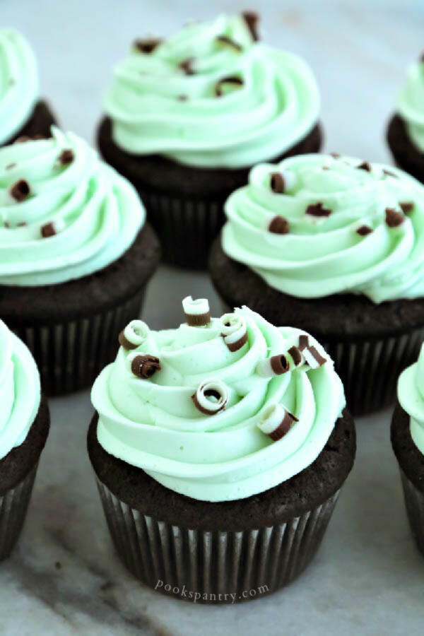 Devil's food cupcakes with mint buttercream frosting