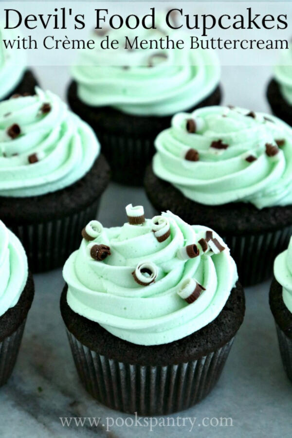 Devil's food cupcakes with chocolate mint candy curls