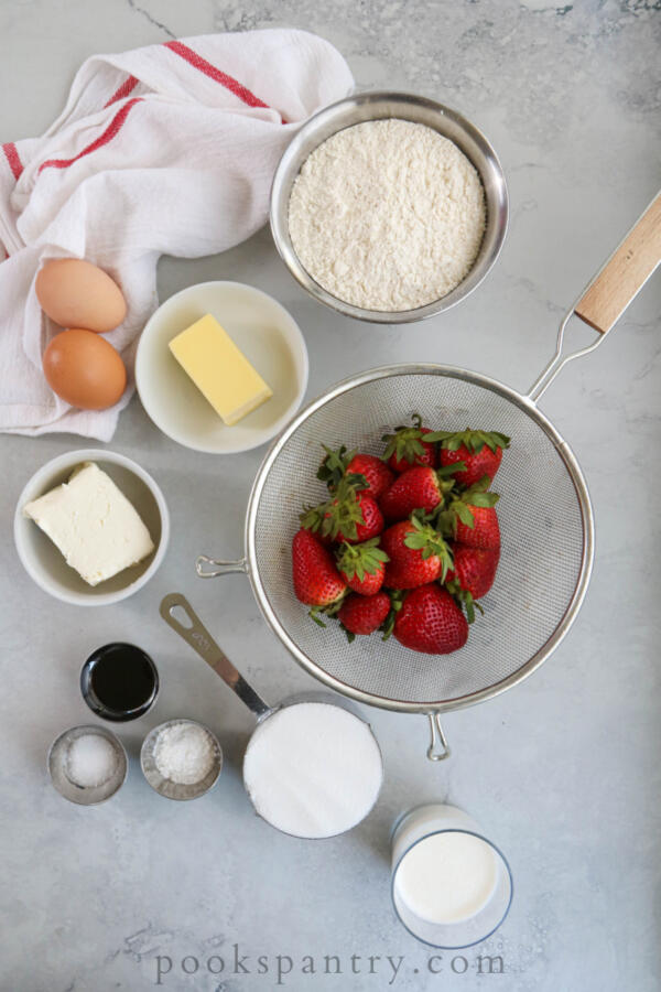 Ingredients for strawberry cream cheese pound cake