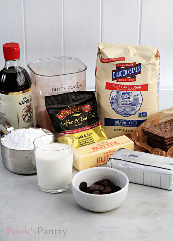 ingredients for no bake chocolate cheesecake on counter