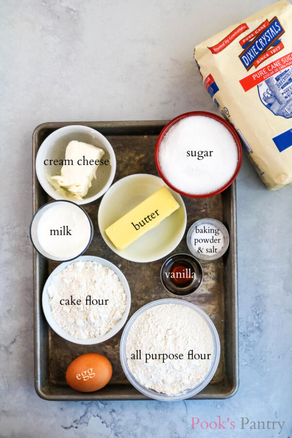 ingredients for cream cheese cupcakes