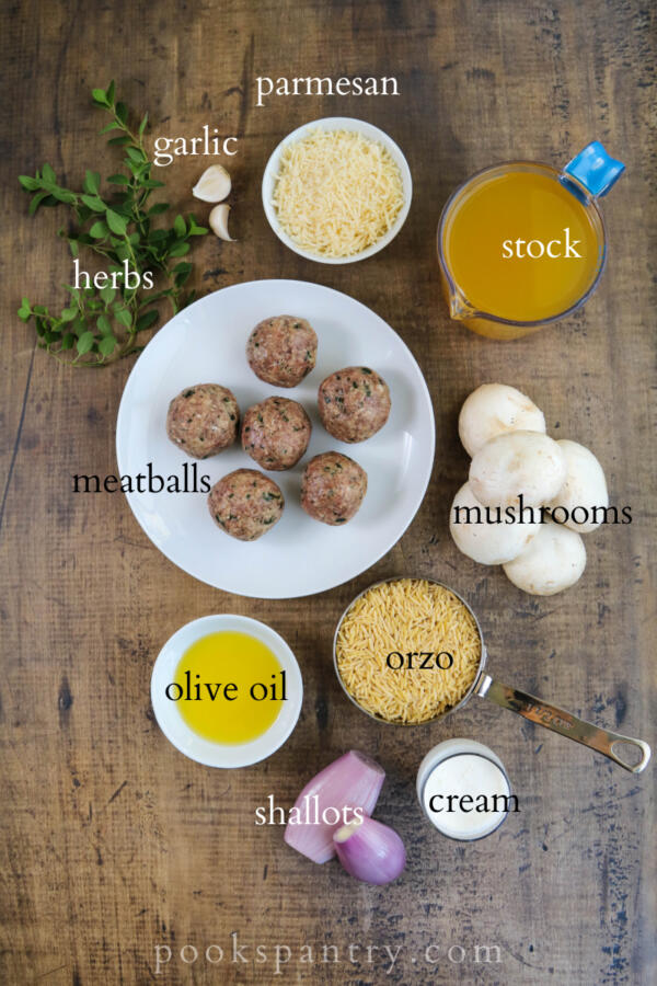 Ingredients for Pook's Pantry meatballs and mushroom orzo