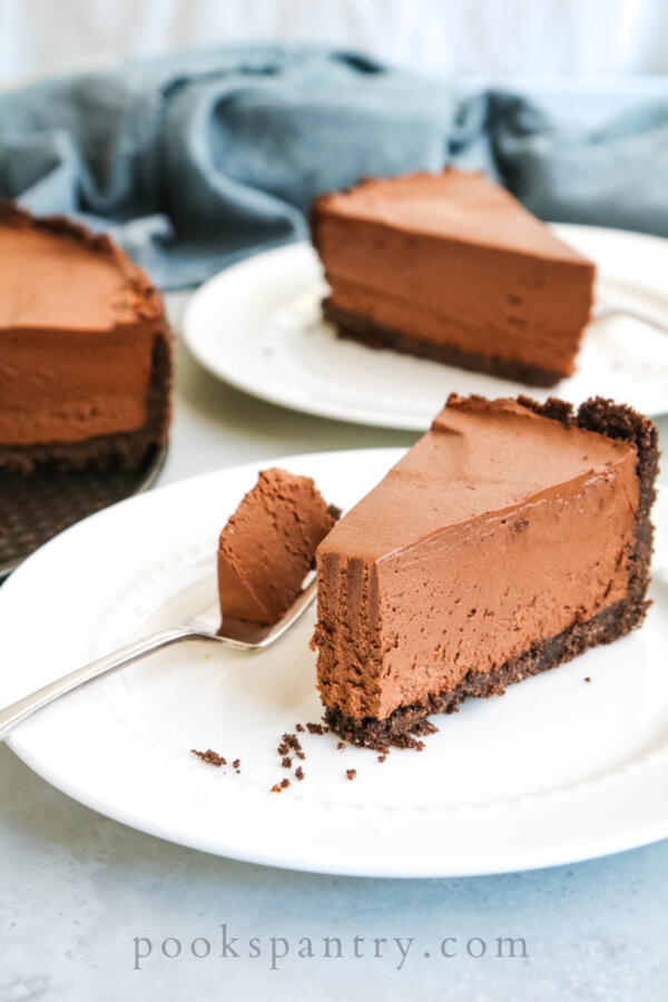 forkful of chocolate cheesecake